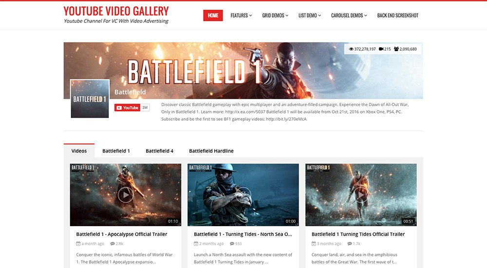 Meilleurs plugins wordpress youtube - youtube video gallery for visual composer