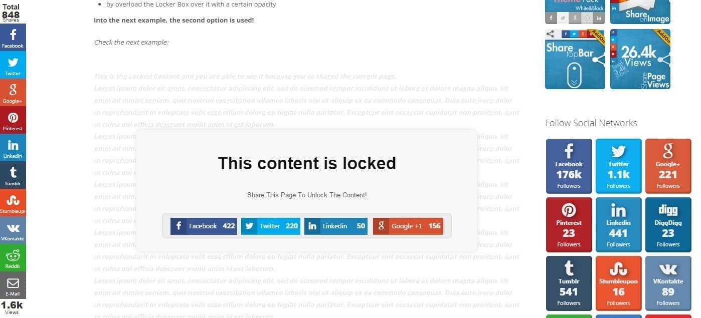 meilleurs plugins reseaux sociaux wordpress - Social Share Locker