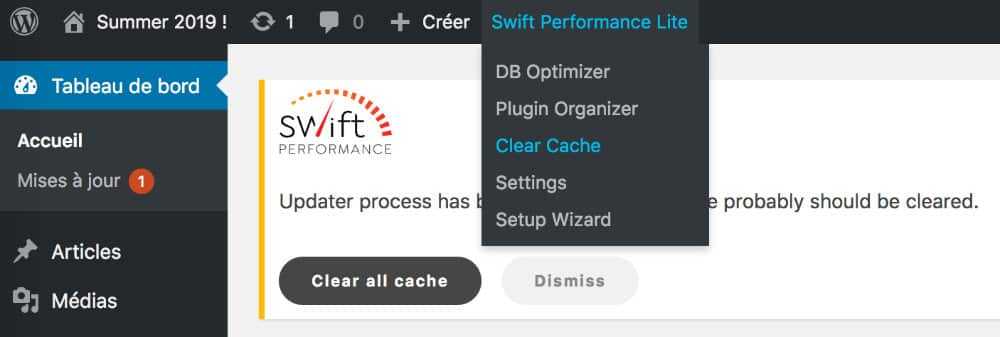 Swift Performance : purger le cache