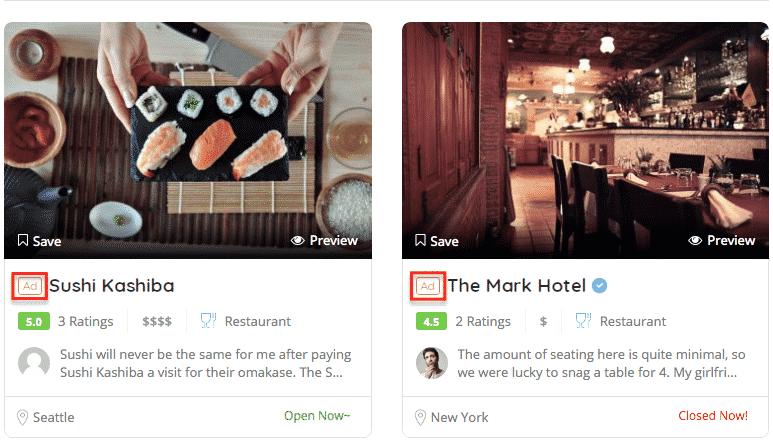 Exemple de contenu sponsorisé ListingPro pour un site annuaire
