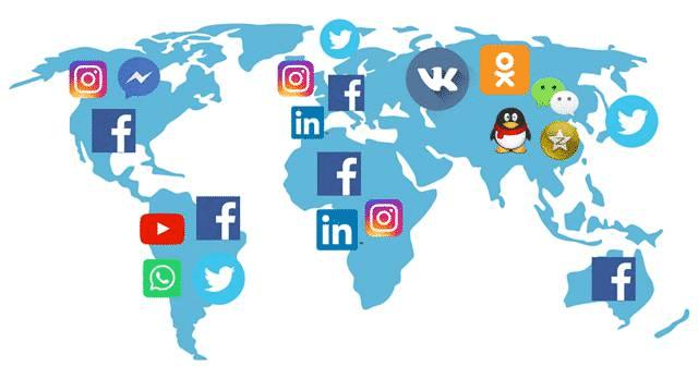 carte des réseaux sociaux