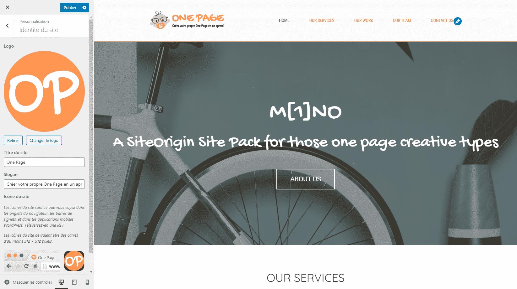 Modifier l'identité visuelle du site One Page - créer son site tout seul rapidement facilement avec SiteORigin