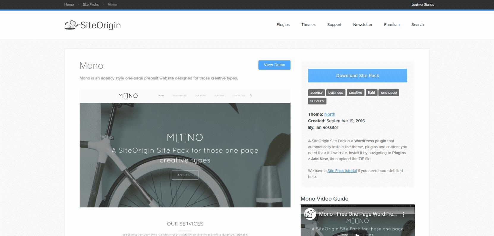Téléchargez le site pack one page MONO via SiteOrigin - Créer son site one page en un jour