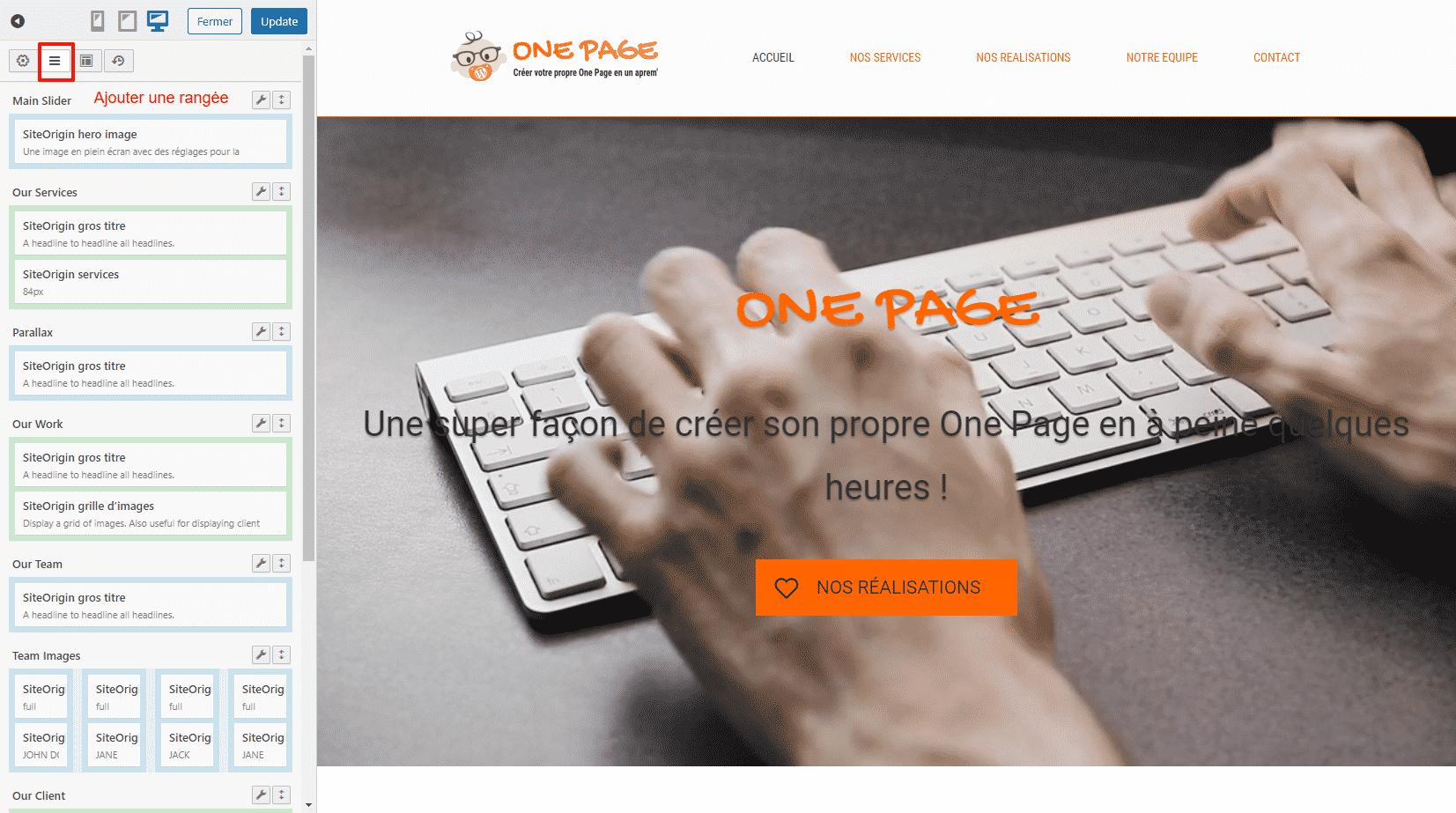 Ajouter une rangée de contenu sur son One Page SiteOrigin WordPress