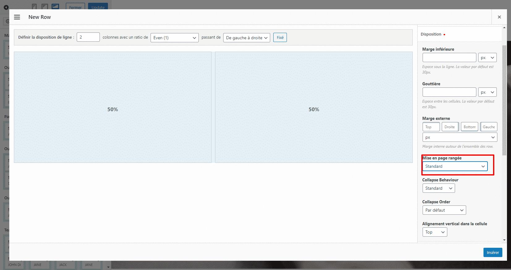 Modifier la rangée et les détails de cette dernière - Créer un One Page tout seul avec WordPress