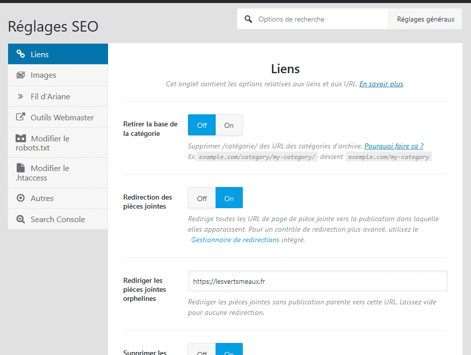 Réglages SEO de Rank Math
