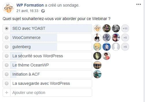 sondage webinar WordPress