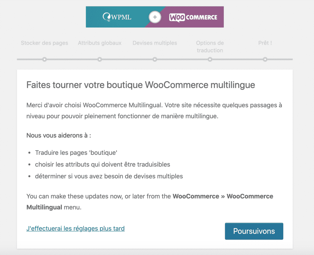 WooCommerce Mulitlingue WCML, configuration de la boutique
