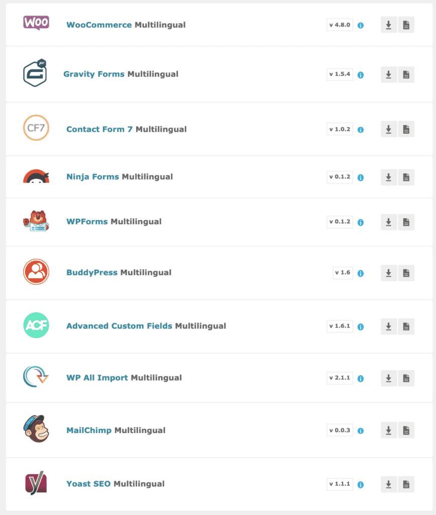 liste des extensions WPML