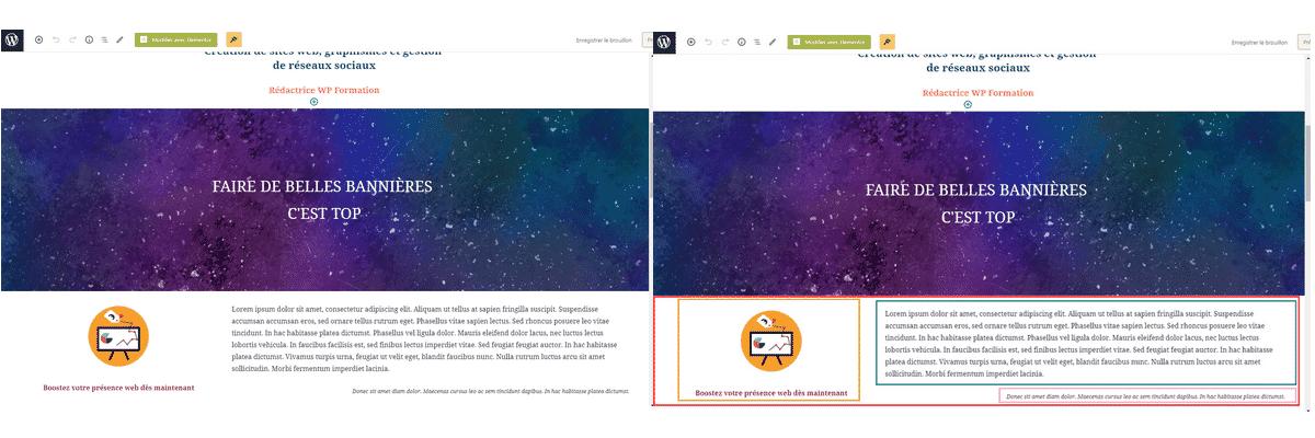 bloc gutenberg page de test contour des blocs wordpress