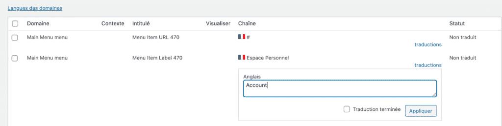 traduire le menu wordpress avec wpml