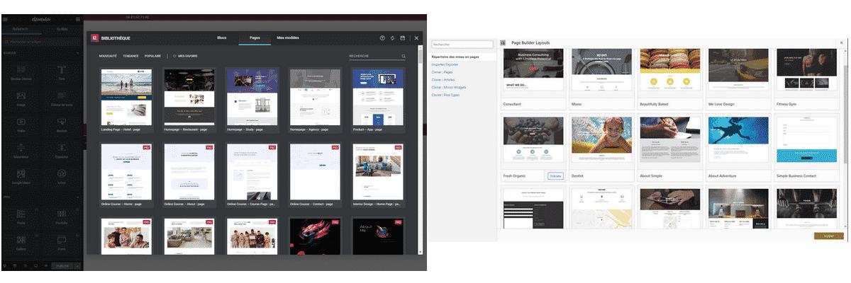 exemple de page pré construite avec elementor ou siteorigin