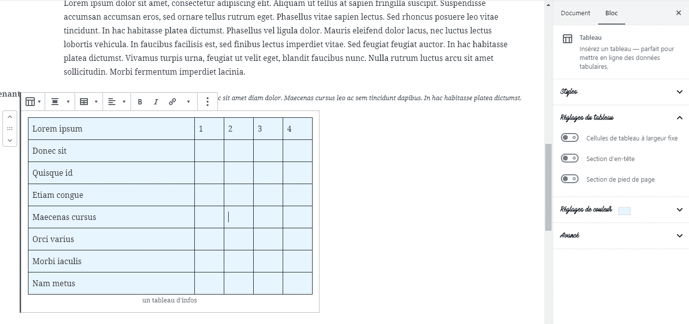 tableau avec Gutenberg wordpress