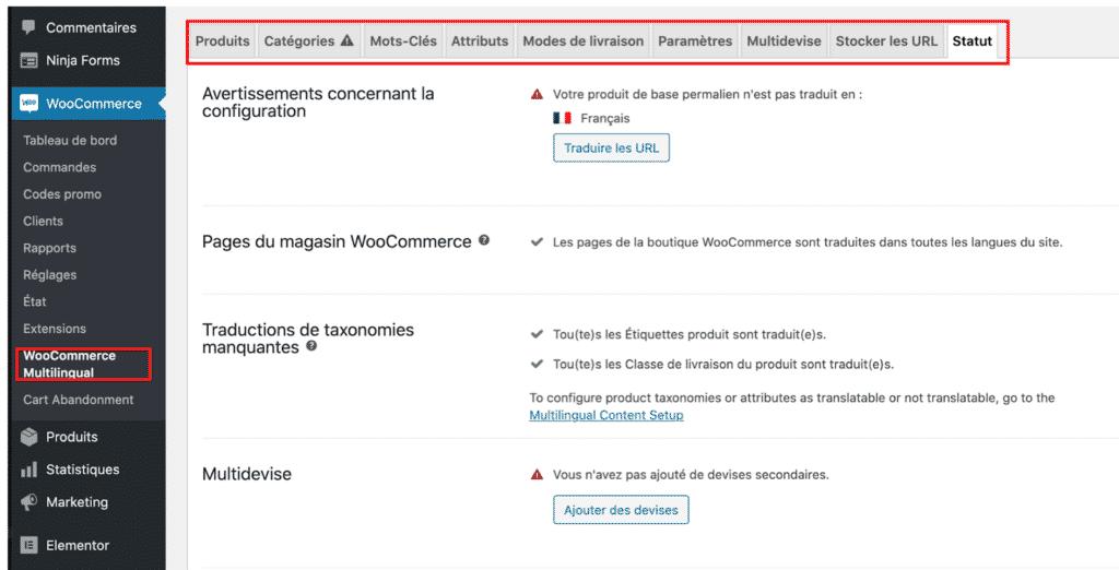 WooCommerce Mulitlingue WCML, configuration de la boutique et tableau de bord
