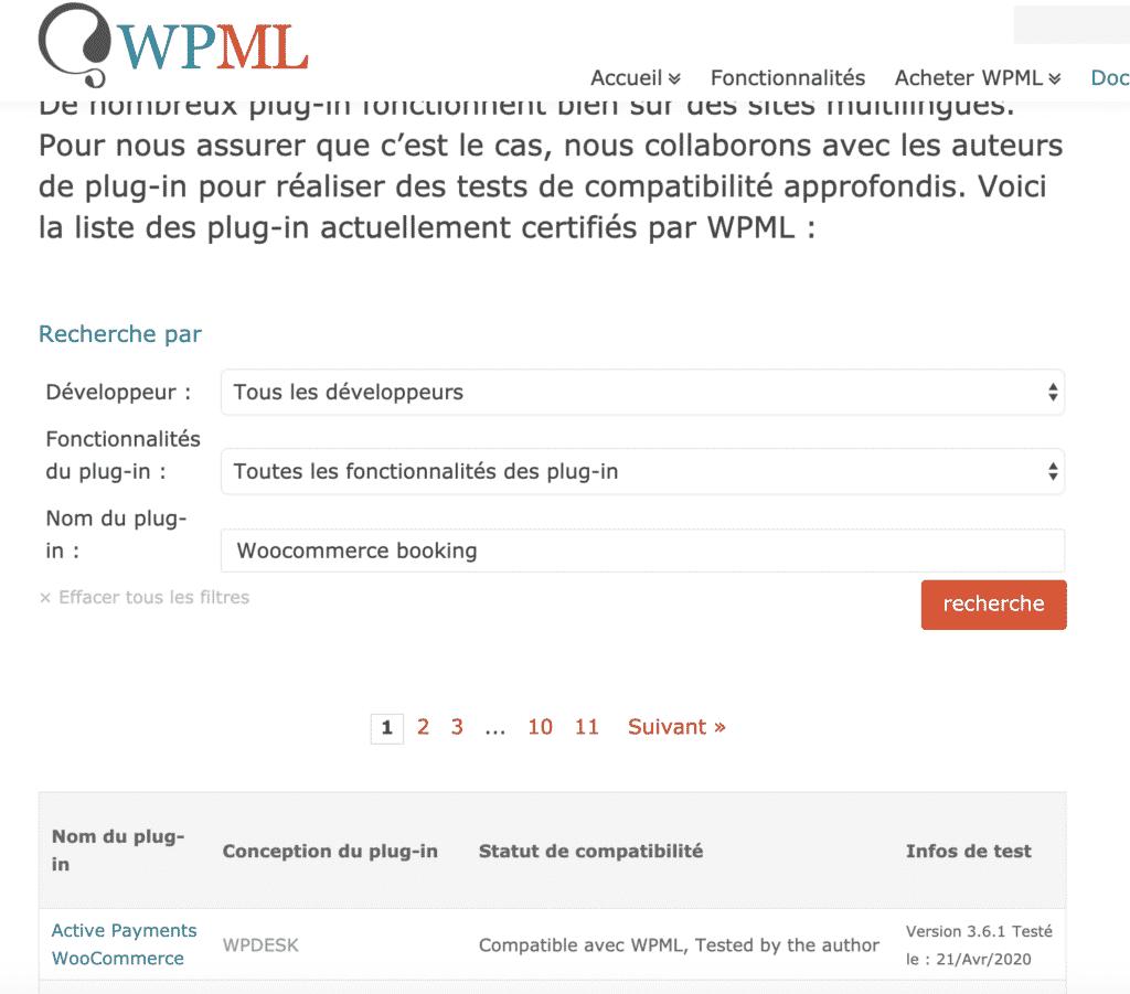wpml et la liste de compatibilité avec les extensions Woocommerces
