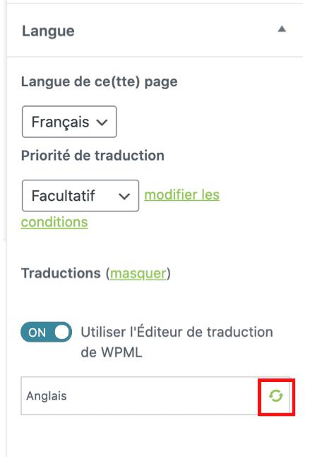 menu langue wpml