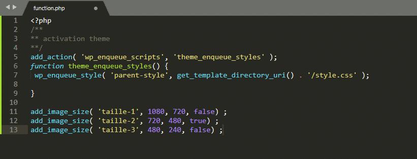 Code PHP pour générer de nouvelles tailles d'images dans WordPress