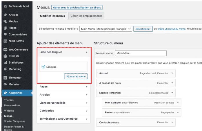 Traduire son menu avec Polylang - WPformation