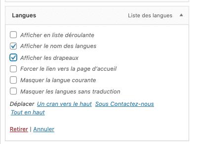 liste des langues widget polylang