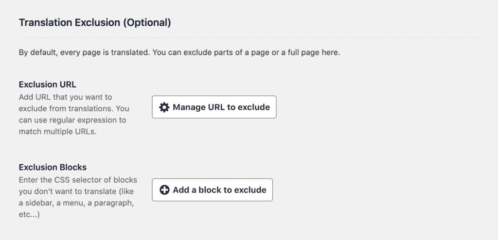 Tutoriel Weglot WPFormation panel d'option pour exclure les traductions