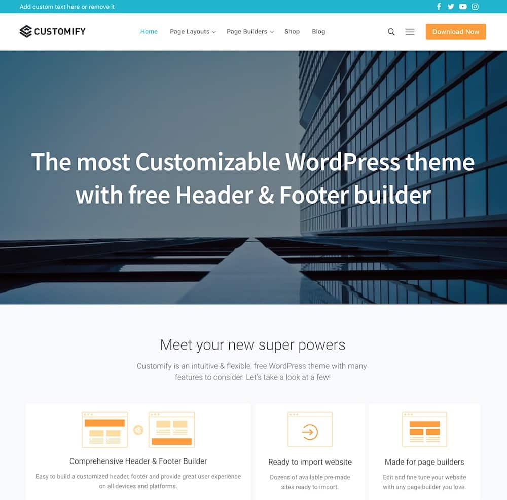 wpcustomify themes wordpress rapides