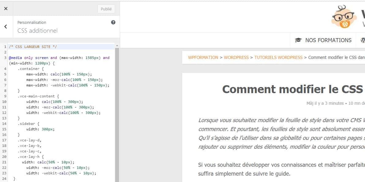 Modifier Css WordPress