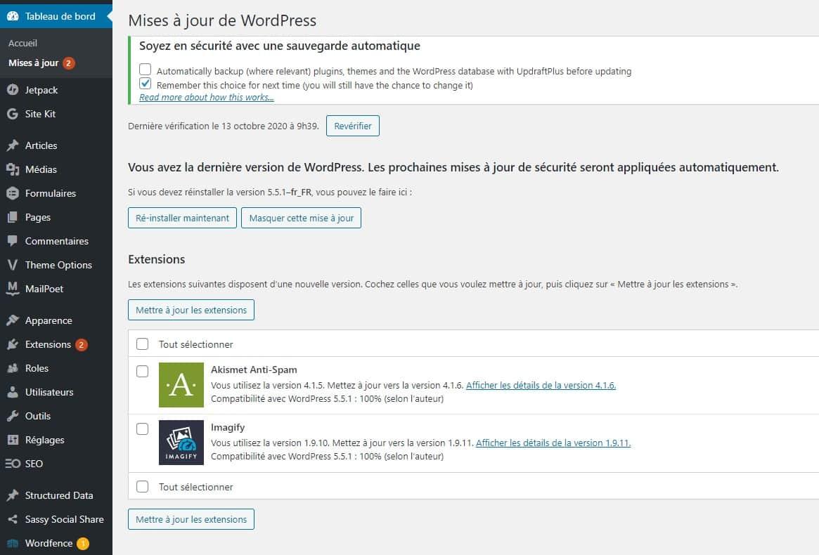 Mettre A Jour Plusieurs Plugins WordPress