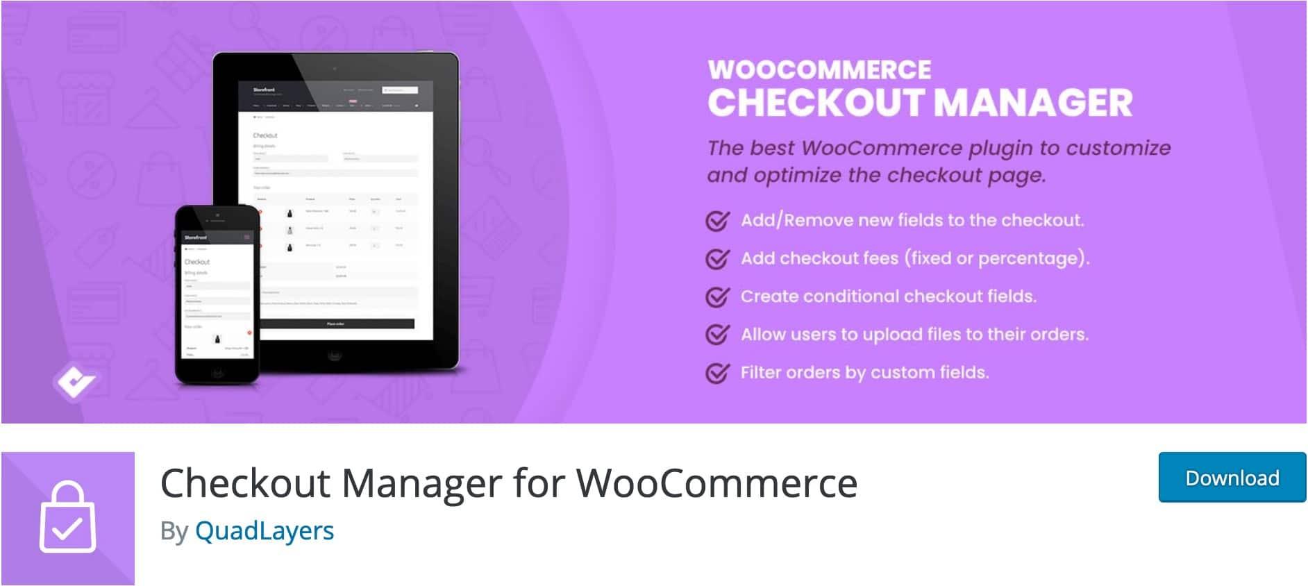 Checkout Manager, Plugin Gratuit Woocommerce WordPress
