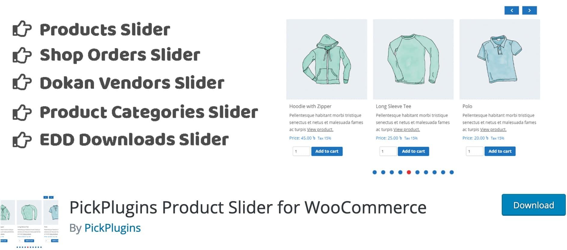 PickPlugins Product Slider for WooCommerce, Plugin Gratuit Woocommerce WordPress