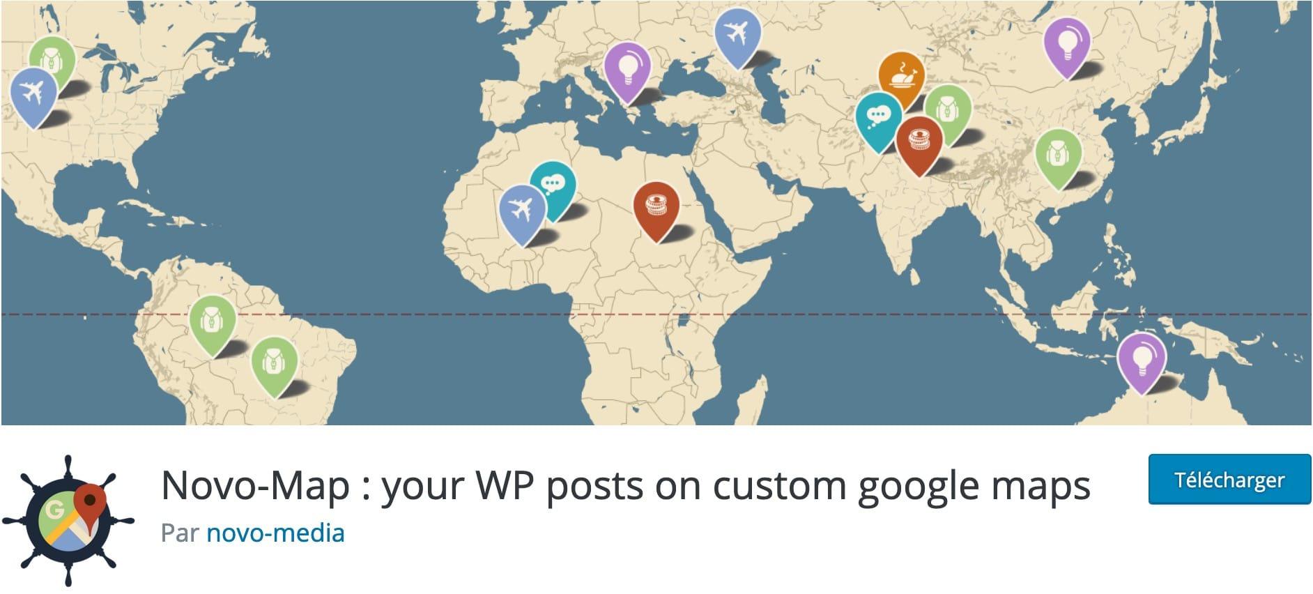 Plugin Novo Map WordPress Blog Voyage