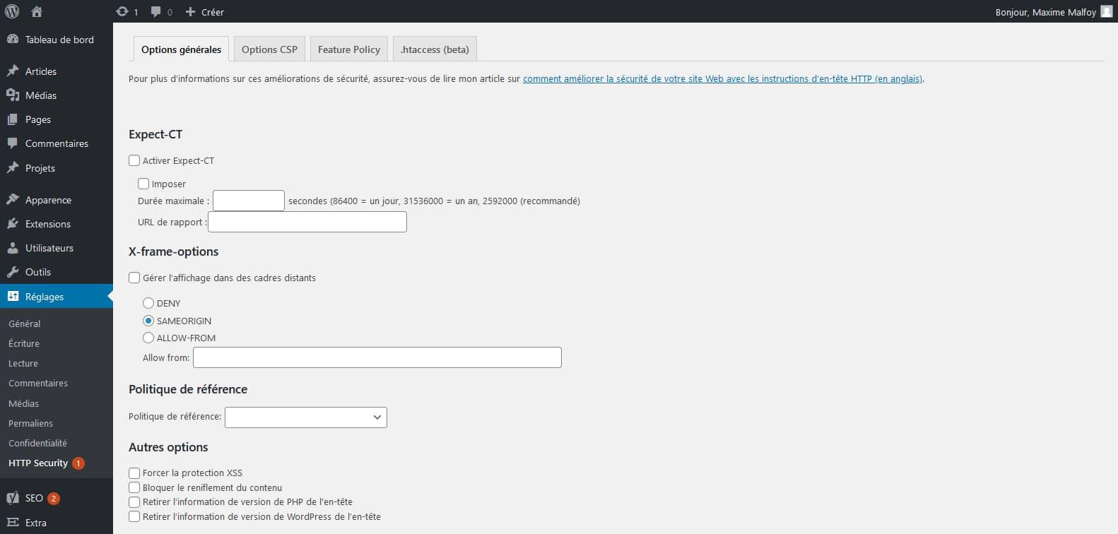 HTTP headers to improve web site security : un plugin simple et rapide