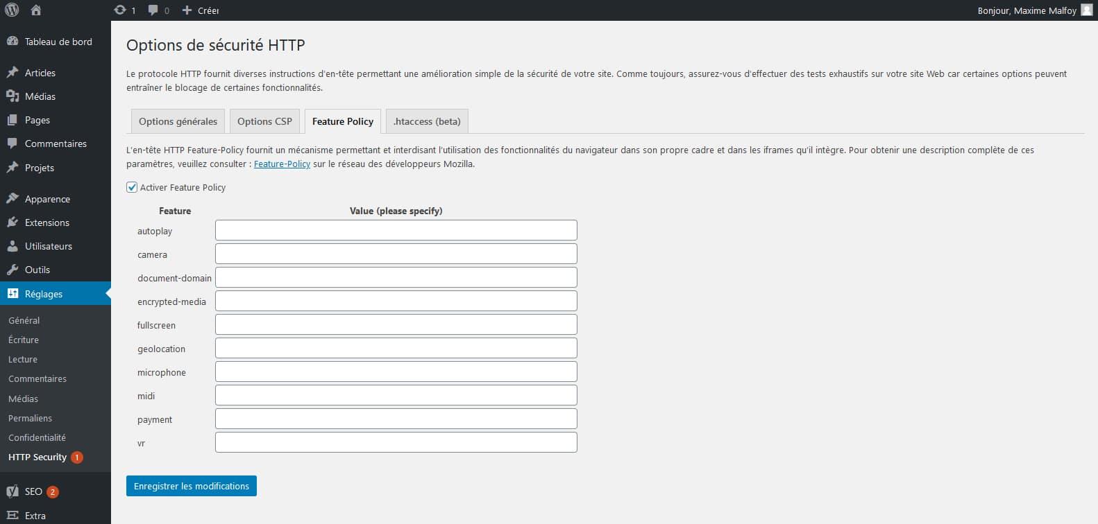HTTP headers to improve web site security : tout pour gérer la Permissions Policy
