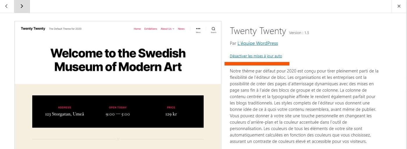 Desactiver Mises A Jour Themes WordPress 5