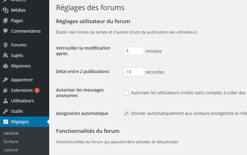 Reglage Bbpress Plugin WordPress Pour Forum