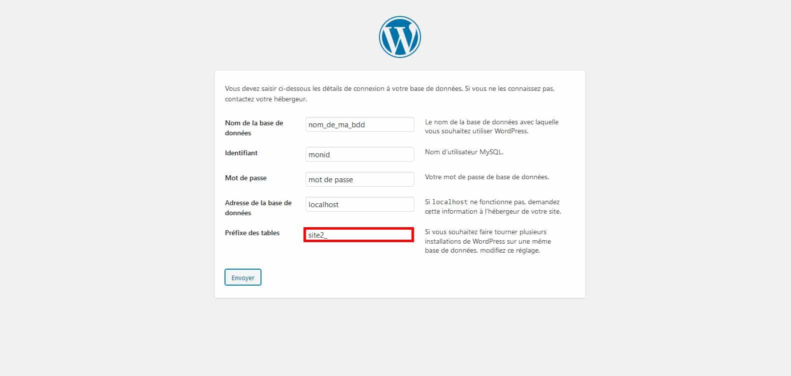 2e installation WordPress pour partage utilisateurs