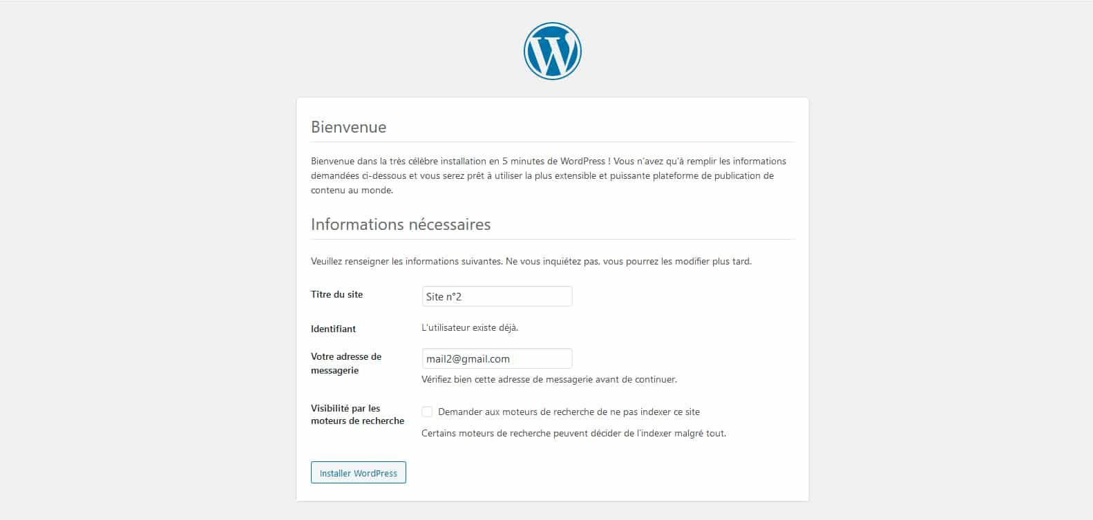 Le partage utilisateurs modifie l'installation WordPress