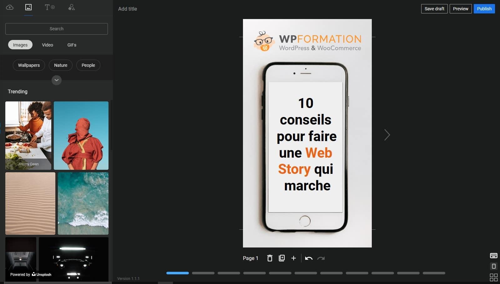 Interface Plugin Web Story WordPress