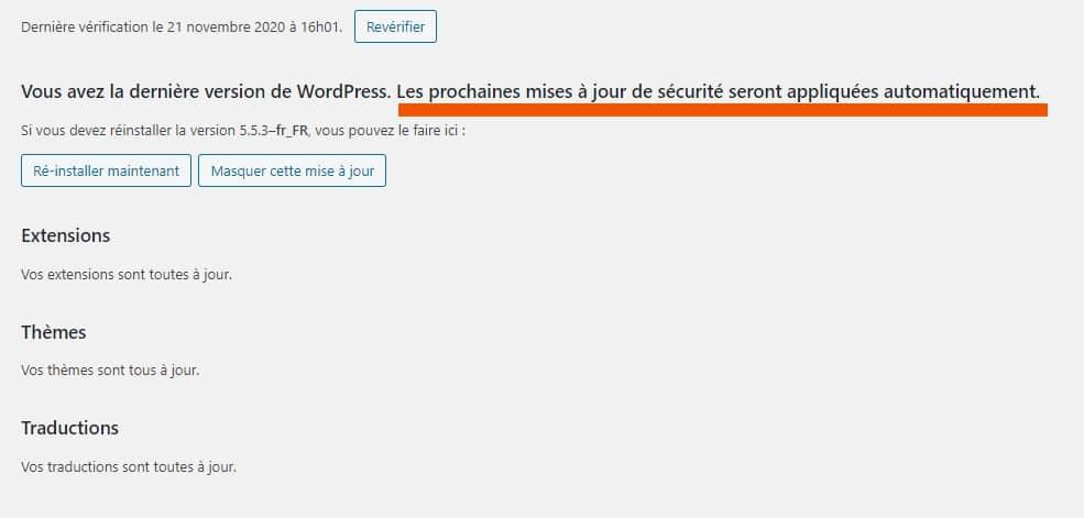 Mises A Jour WordPress Automatiques Core