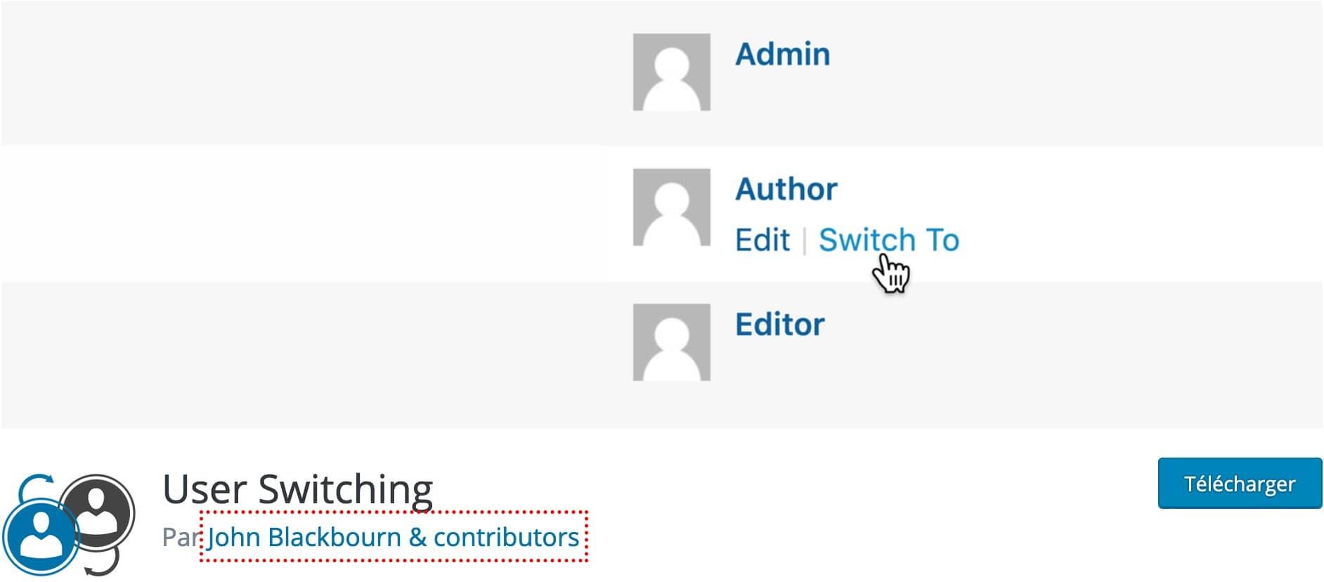Plugin Se Connecter En Tant Que User Switching WordPress