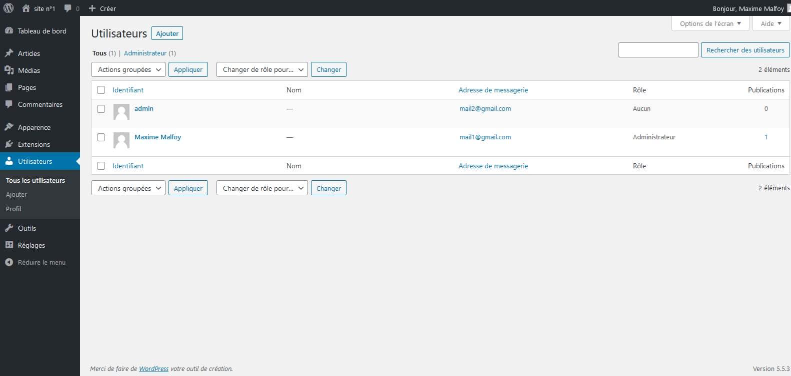Le WordPress n°2 partage ses utilisateurs avec le site n°1