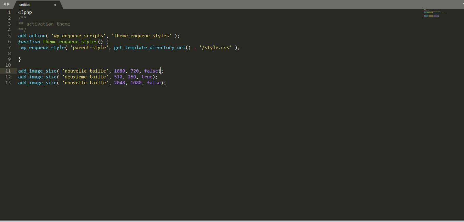 Générer des tailles d'images via le fichier functions.php