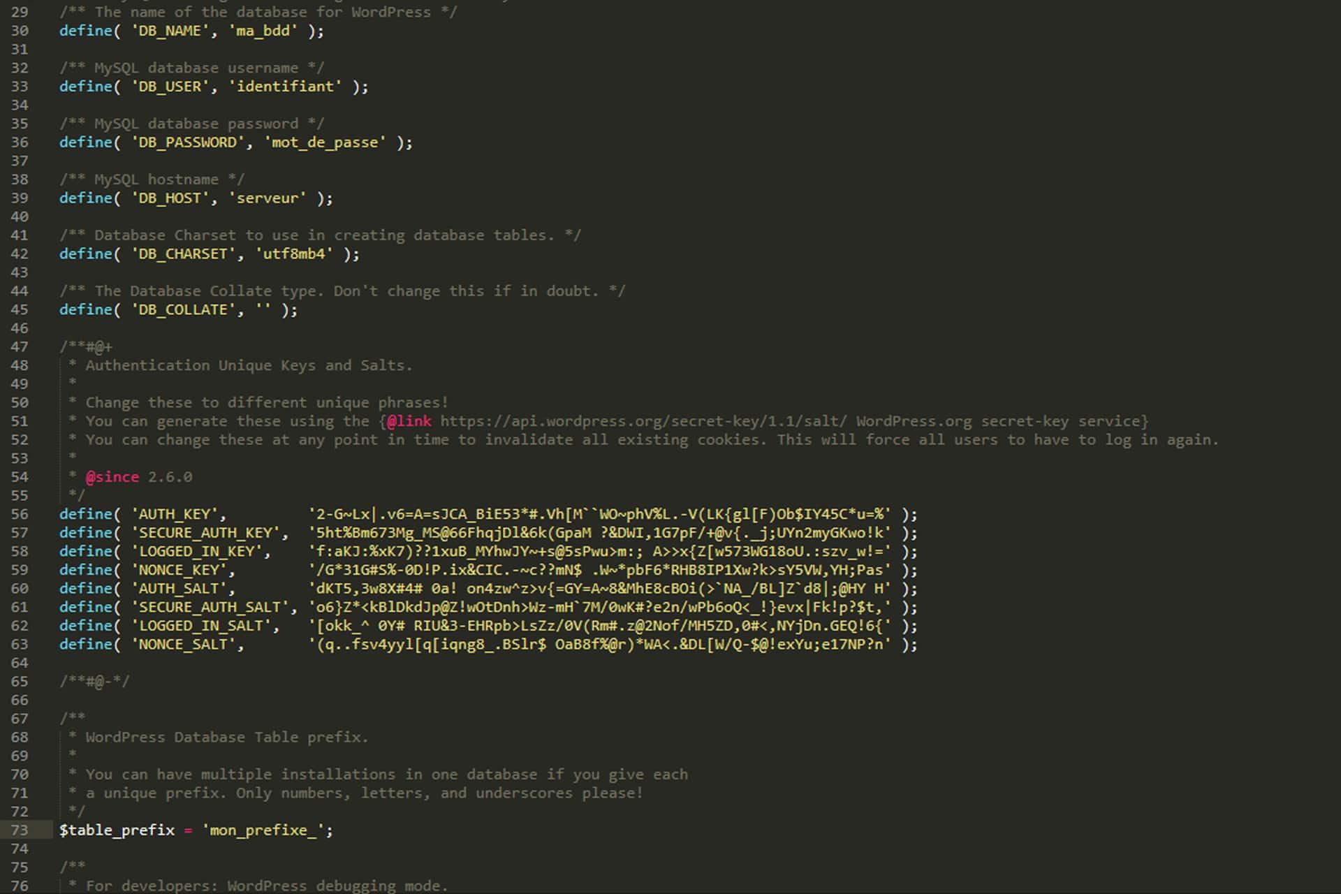 wp-config.php : le lien avec votre base de données WordPress