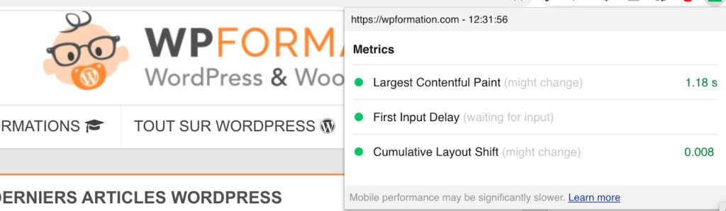 chrome extension core web vitals